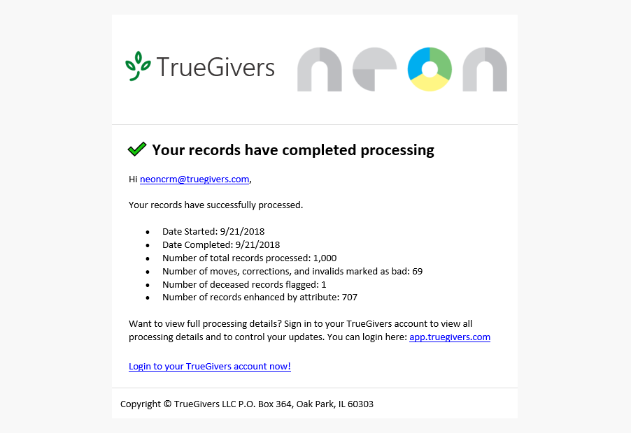 Records Complete Processing email