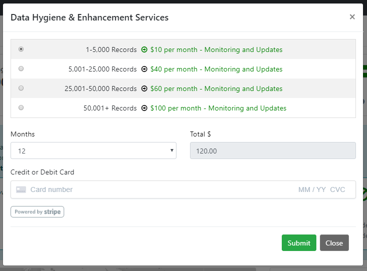 NeonCRM Data Hygiene and Enhancement Purchase Form