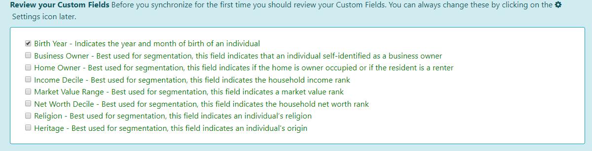 Custom Field Settings Dashboard