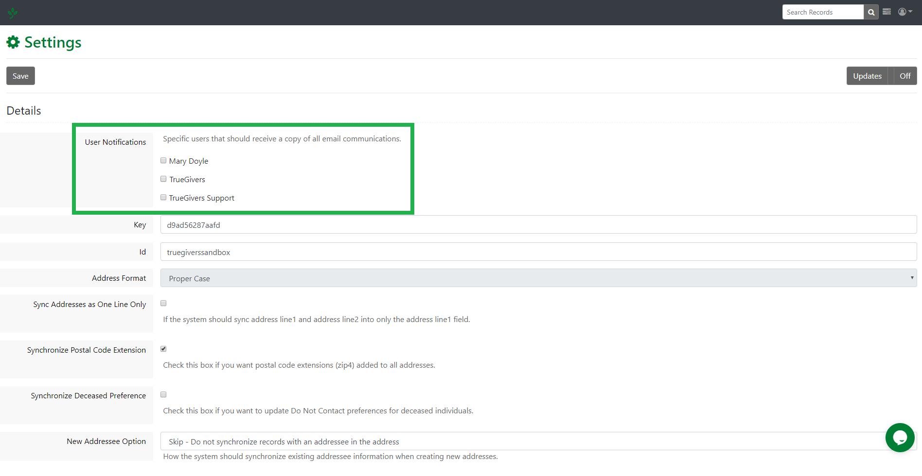 integration settings - user notifications