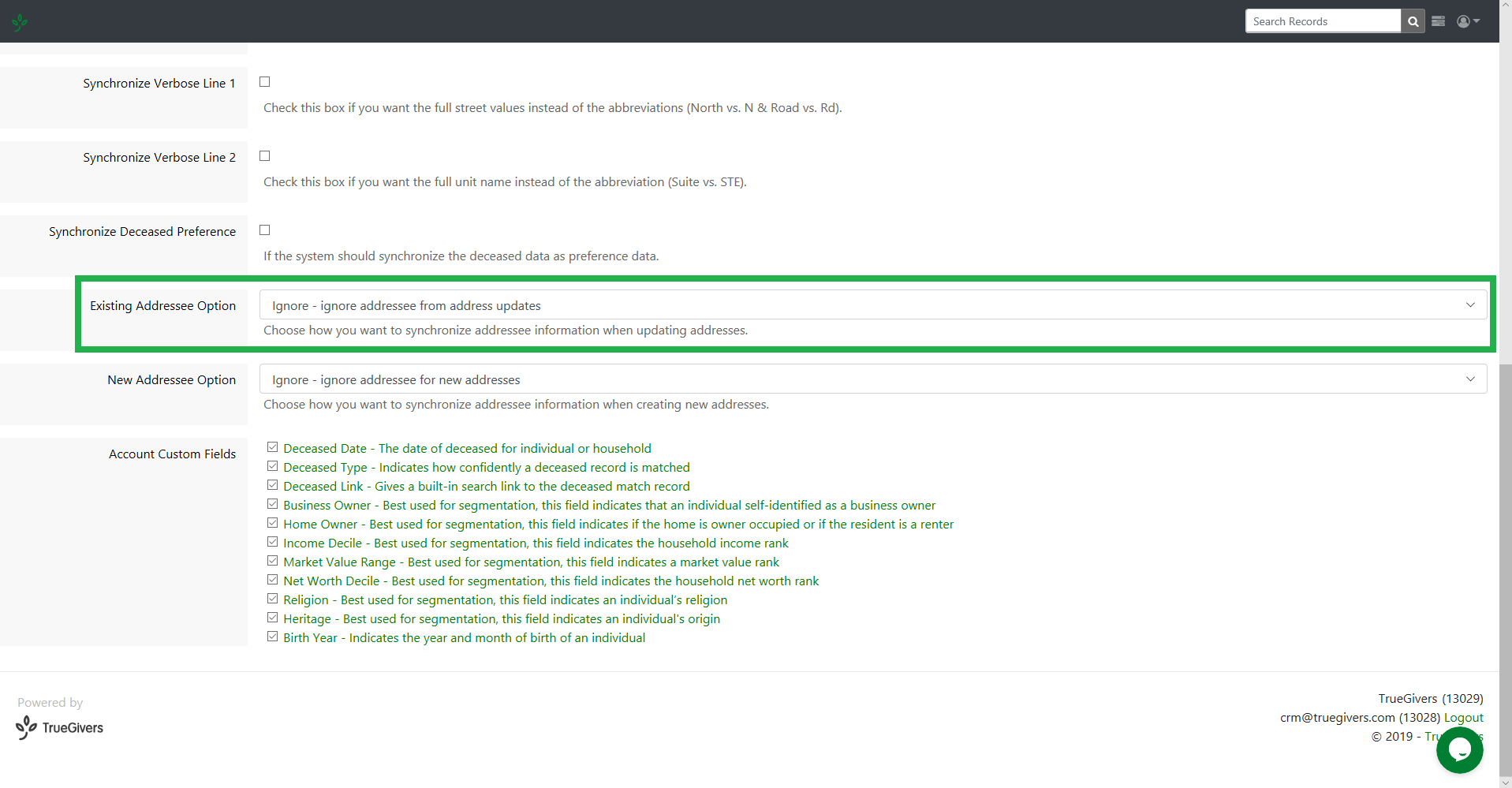 existing addressee option