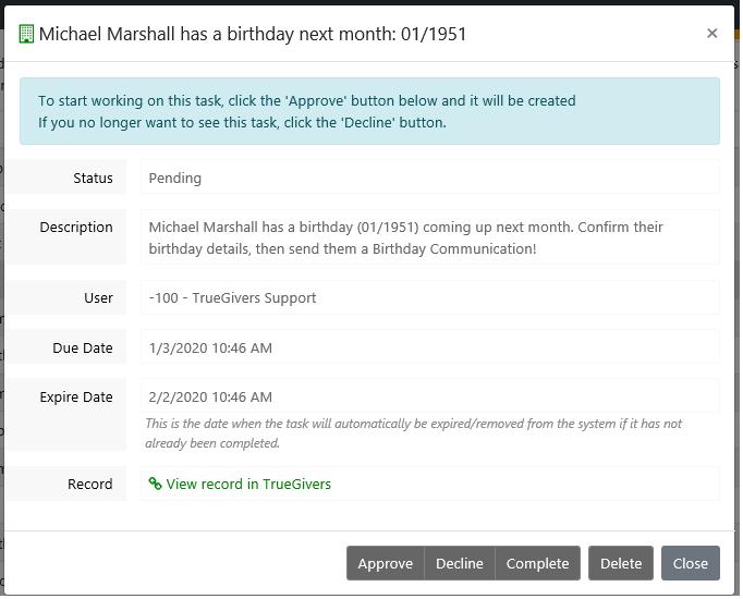 Birthday Task Details - a Donor Stewardship Task
