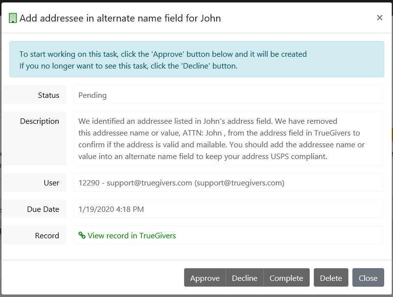 Addressee Identified Task Details