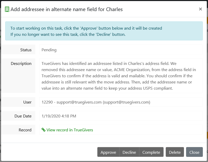 Addressee Identified on a Move Task Details