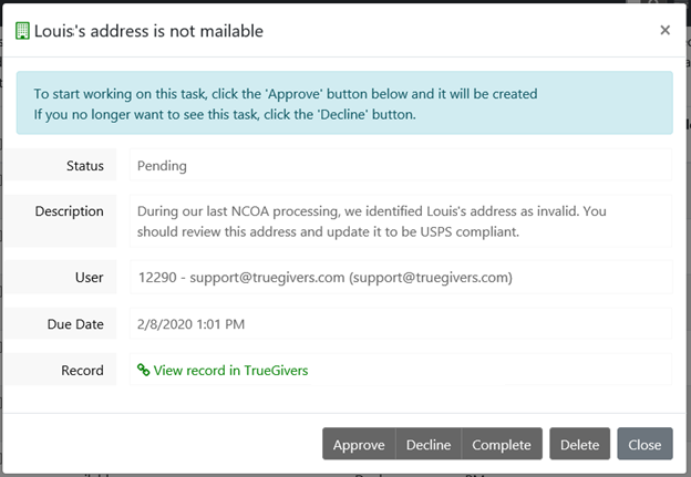 Invalid Address Identified Task Details indicate a non-mailable address