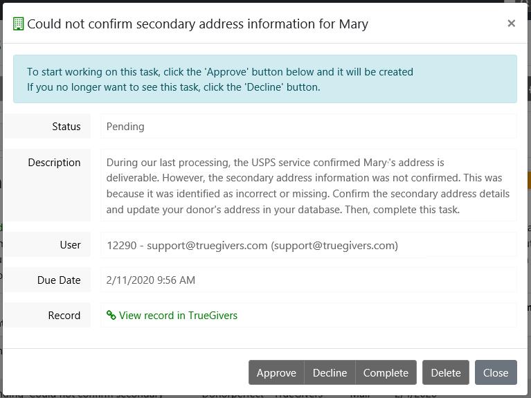 Missing or Unconfirmed Address Line 2 Task Details