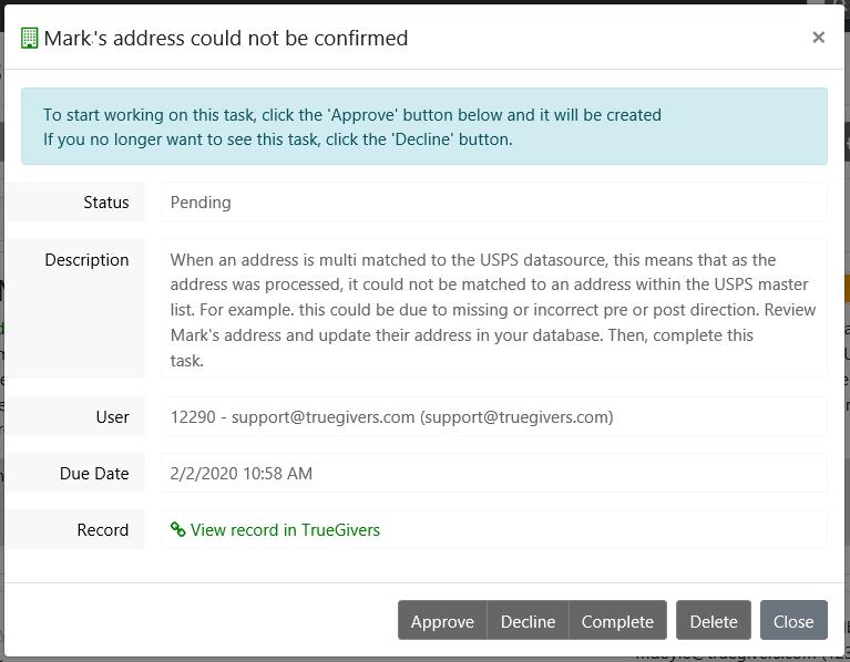 Multi Matched Address Identified Task Details