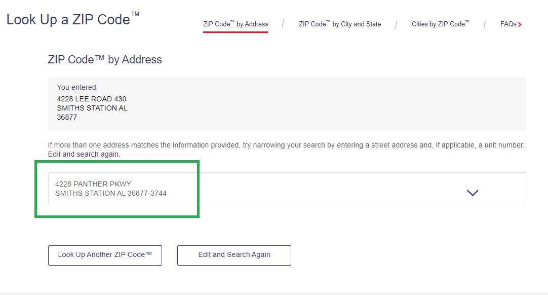 USPS ZipCode Lookup tool street name change example